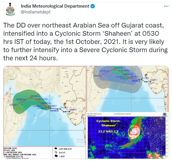 Cyclone Shaheen: Likely to intensify into severe cyclonic storm over Arabian Sea